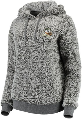 Women's Heathered Gray Oregon Ducks Sherpa Inside & Out Pullover Hoodie