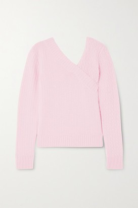 GAUGE81 Brisbane Wrap-effect Cable-knit Cashmere Sweater - Pink