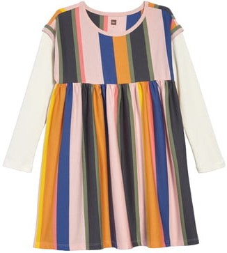 Tea Collection Stripe Layer Look Long Sleeve Dress