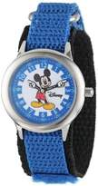 """Disney Kids' W000240 """"Time Teacher"""" Mickey Mouse Stainless Steel Watch with Moving Hands"""