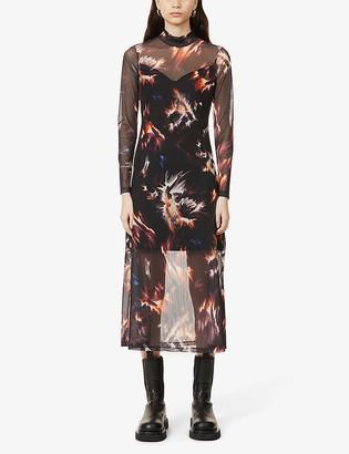 AllSaints Hanna graphic-print mesh maxi dress
