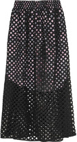 Carven Perforated cotton midi skirt