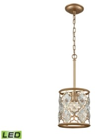 Elk Lighting Armand 1 Light Pendant in Matte Gold with Clear Crystal