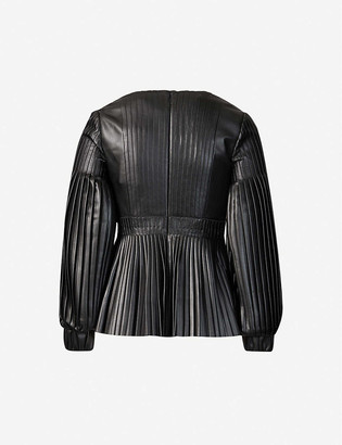 Huishan Zhang Dusty puff-sleeve pleated faux-leather top