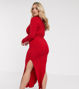 Urban Bliss Plus high neck fitted maxi dress with side splits-Red