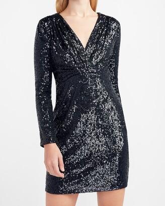 Express Sequin Wrap Front Sheath Dress