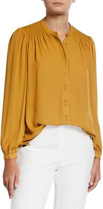Neiman Marcus Smocked Long-Sleeve Blouse