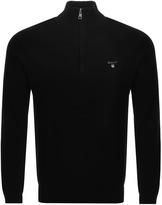 Gant Textured Cotton Pique Half Zip Jumper Black