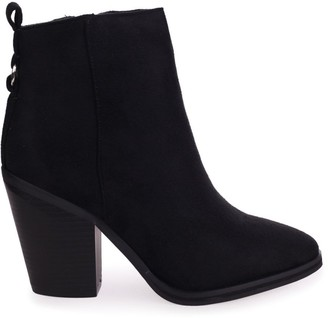 Linzi WHIZZ - Black Suede Block Heeled Cowboy Style Boot