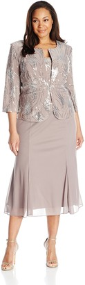 Alex Evenings Women's Plus-Size Sequin Mock Jacket with T-Length Dress