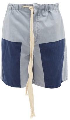 Loewe Paula's Ibiza - Fringed-drawstring Panelled Denim Shorts - Mens - Blue