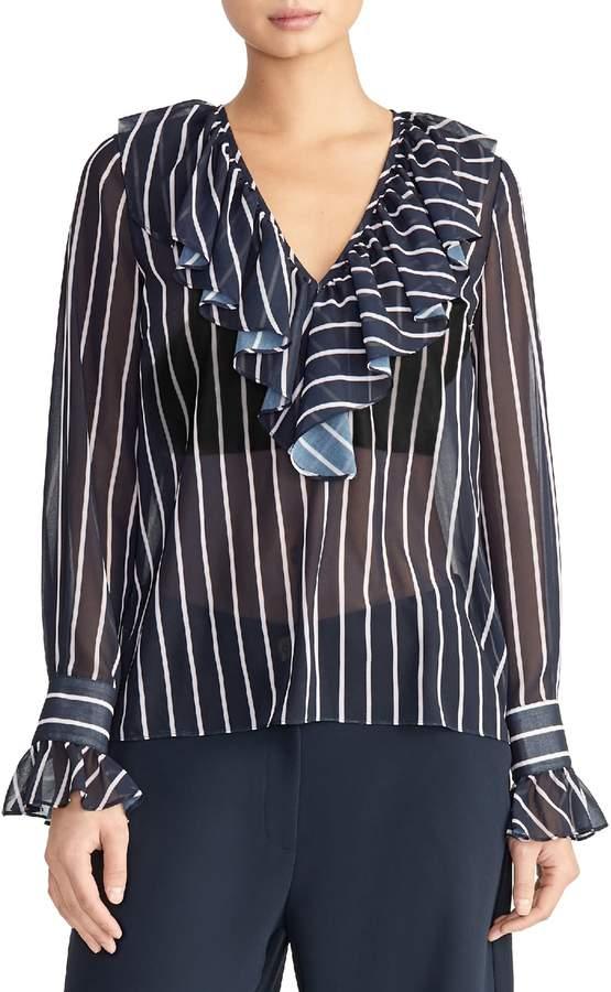 Rachel Roy Collection Stripe Ruffle Blouse