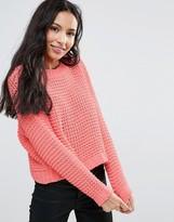 Noisy May Grid Knit Sweater