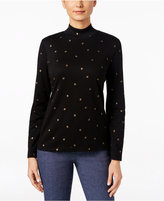 Karen Scott Leaf Print Mock-Turtleneck Top, Only at Macy's