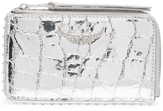 Zadig & Voltaire Metallic Crocodile Effect Card Holder