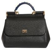 Dolce & Gabbana Medium Miss Sicily Embellished Top Handle Leather Satchel - Black
