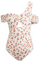 Self-Portrait Floral-print Ruched Swimsuit - Womens - Cream