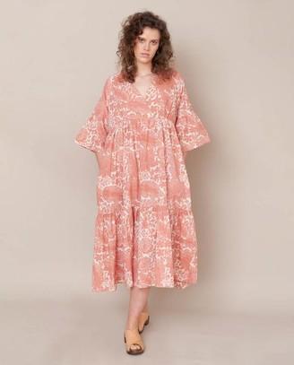 Beaumont Organic Tulsi Organic Cotton Dress In Pink Print - Pink Print / Extra Small