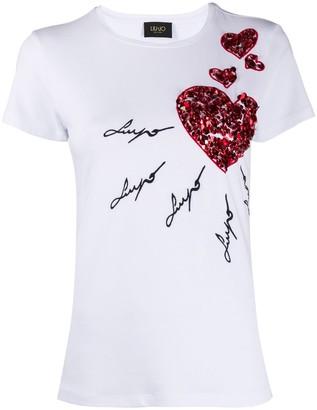 Liu Jo embellished heart T-shirt