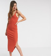 Asos DESIGN Tall rib knitted sleeveless midi dress