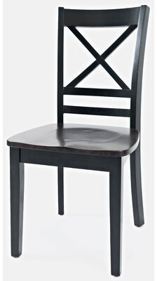 Jagger Breakwater Bay X Back Solid Wood Side Dining Chair (Set of 2) Breakwater Bay Frame Color: Black