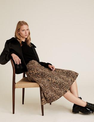Marks and Spencer Cotton Jersey Animal Print Midi Skirt