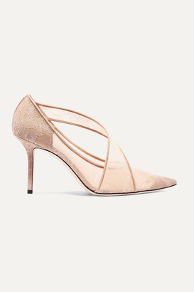 Jimmy Choo Haylene 85 Leather-trimmed Corded Lace Pumps - Sand