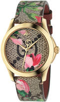 Gucci 38MM G-Timeless Pink Blooms Print Watch