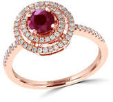 Effy 14K Rose Gold 0.27ct Diamond and 0.57ct Natural Ruby Ring