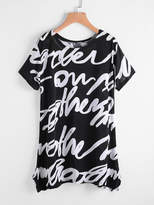 Romwe Random Print Pointed Hem Tee Dress