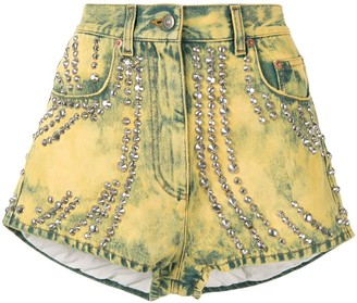 Gucci Pre-Owned Tiger Embroidery Studded Denim Shorts