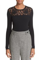 RED Valentino Floral Embellished Rib Knit Sweater