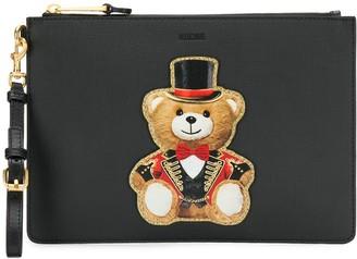 Moschino applique circus bear clutch