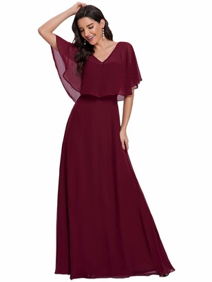 Ever Pretty Ever-Pretty Women's V Neck Short Sleeve Floor Length A-Line Empire Waist Elegant Chiffon Evening Gowns Dresses Burgundy 16UK