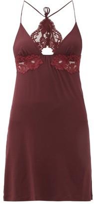 La Perla Tres Souple Lace-trim Jersey Slip Dress - Womens - Burgundy