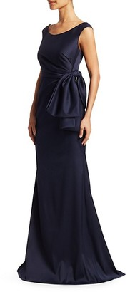 Badgley Mischka Side Bow Draped Gown