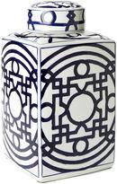 One Kings Lane 15 Porcelain Square Jar, Blue/White