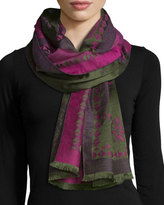 Etro Floral & Paisley Wool-Blend Scarf, Pink/Green