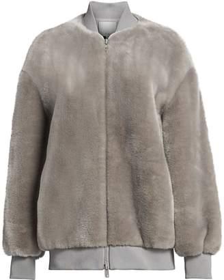 Tibi Luxe Oversized Faux Fur Bomber Jacket