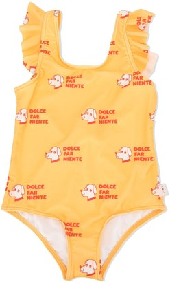 Tiny Cottons Dog Print Ruffle Trim Swimsuit