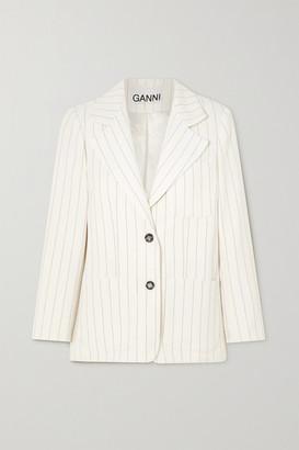 Ganni Pinstriped Crepe Blazer - Ivory