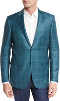 Ermenegildo Zegna Plaid Wool Two-Button Sport Coat, Green