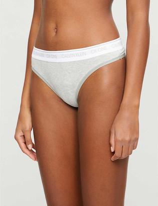 Calvin Klein One cotton-blend thongs
