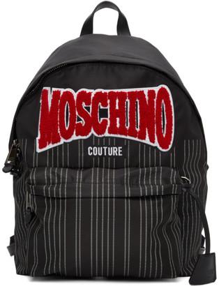 Moschino Black Nylon Pinstripe Backpack
