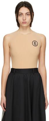 MM6 MAISON MARGIELA Beige Nylon Logo Bodysuit