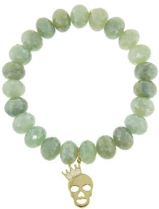 Sydney Evan Crown Skull Charm On Green Silverite Beaded Bracelet