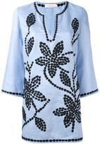 Tory Burch floral embroidered tunic - women - Linen/Flax/Polyester - L