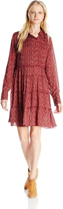 Angie Women's Juniors Ruffled Long-Sleeve Dress