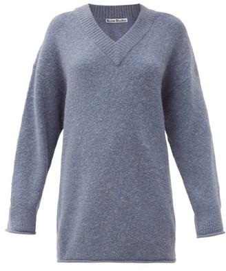 Acne Studios Keandra V-neck Brushed Sweater - Light Blue