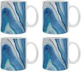 Deny Designs Agate Inspired Watercolor Abstract 02 Ceramic Coffee Mugs (Set of 4)